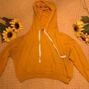 Forever 21 Mustard Crop Top Hoodie
